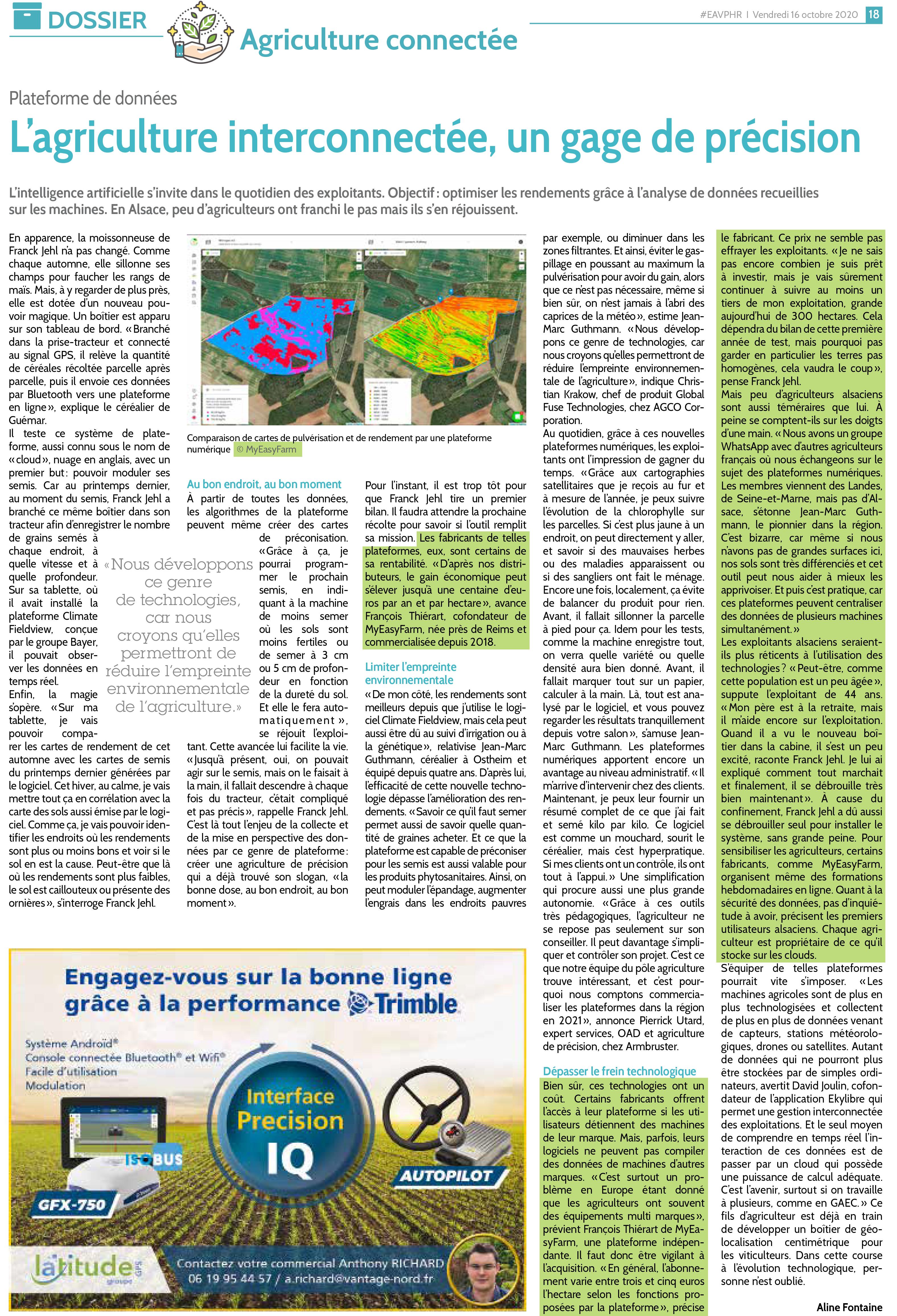 L'agriculture interconnectée, un gage de précision - revue de presse MyEasyFarm