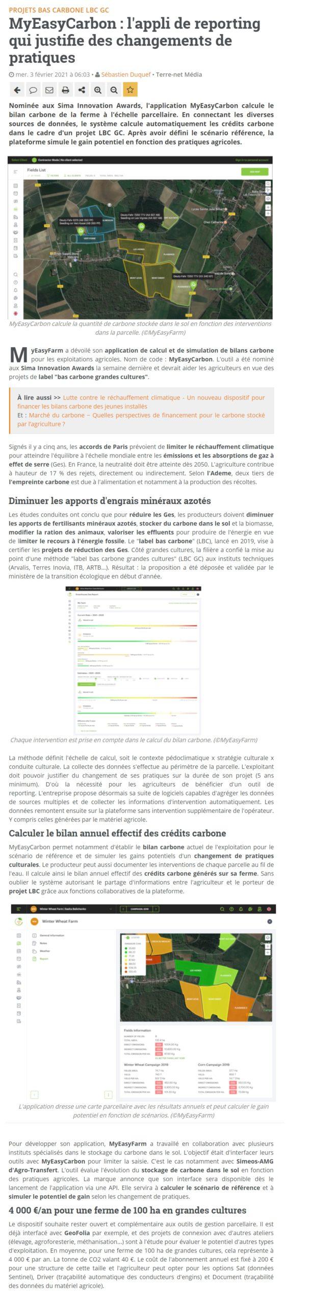 MyEasyCarbon : l'appli de reporting qui justifie des changements de pratiques - article de Terre-net