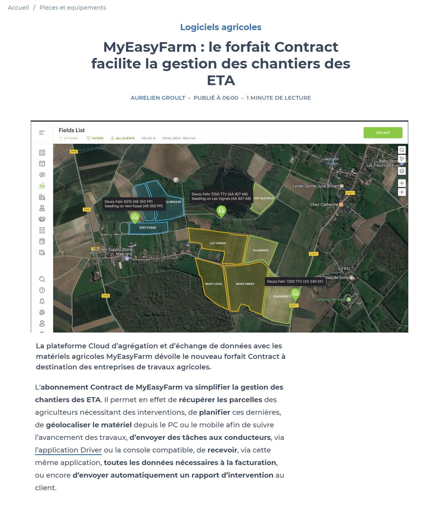 Matériel agricole info - article abonnement Contract pour ETA - MyEasyFarm