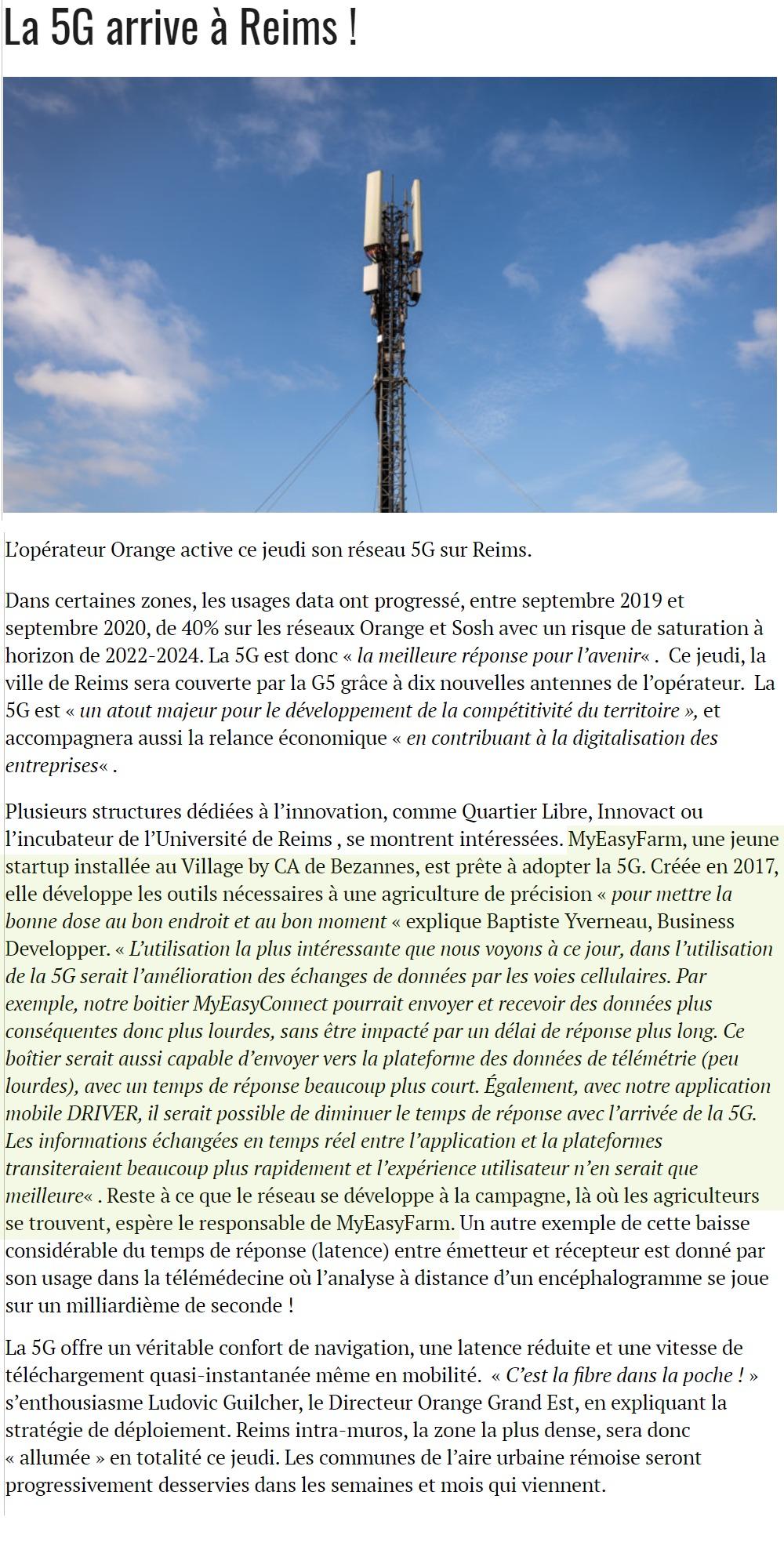 La 5G arrive à Reims ! - revue de presse MyEasyFarm